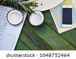 freelance concept exotic fruits ...   Shutterstock . vector #1048752464