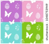 seamless easter pattern with...   Shutterstock .eps vector #1048753949