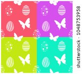 seamless easter pattern with... | Shutterstock .eps vector #1048753958