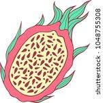 dragon fruit color isolated art.... | Shutterstock .eps vector #1048755308