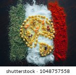 the pizza is made of pasta on... | Shutterstock . vector #1048757558