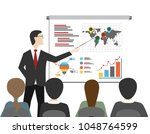 man give presentation with... | Shutterstock . vector #1048764599