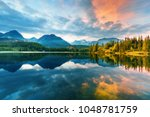 mountain lake strbske pleso ... | Shutterstock . vector #1048781759