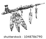 pipe of peace drawing.... | Shutterstock .eps vector #1048786790