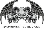 gothic coat of arms with skull  ... | Shutterstock .eps vector #1048797233