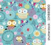 flower texture with owls   Shutterstock .eps vector #104880800