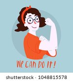 we can do it poster. strong... | Shutterstock .eps vector #1048815578