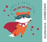 orange and red cute wild fox in ... | Shutterstock .eps vector #1048815644