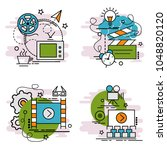 set of outline icons of video.... | Shutterstock .eps vector #1048820120