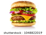 delicious burger  isolated on... | Shutterstock . vector #1048822019