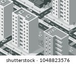 isometric city street with... | Shutterstock .eps vector #1048823576