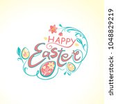 happy easter. beautiful spring...   Shutterstock .eps vector #1048829219