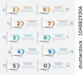 ten paper white pointers with... | Shutterstock .eps vector #1048829306