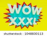 inscription wow 3d | Shutterstock . vector #1048830113