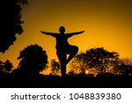 chubby man doing yoga in the... | Shutterstock . vector #1048839380
