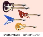 set of vintage electric guitars | Shutterstock .eps vector #1048840640