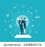 two business people controlling ... | Shutterstock .eps vector #1048845176