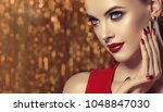 beautiful model girl with red... | Shutterstock . vector #1048847030