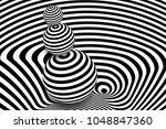 black white 3d line distortion...   Shutterstock .eps vector #1048847360
