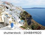 the view on fira town and...   Shutterstock . vector #1048849820