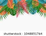 tropical paper palm  monstera... | Shutterstock .eps vector #1048851764