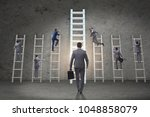 career progression concept with ... | Shutterstock . vector #1048858079