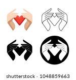 charity concept logo.donator... | Shutterstock .eps vector #1048859663