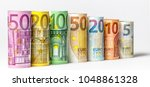 different euro banknotes from 5 ... | Shutterstock . vector #1048861328