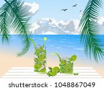 two glasses with cocktail on...   Shutterstock .eps vector #1048867049