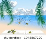 two glasses with cocktail on...   Shutterstock .eps vector #1048867220