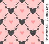 repeated hearts with arrows.... | Shutterstock .eps vector #1048871246