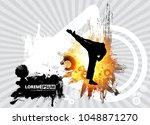 martial arts. high kick | Shutterstock .eps vector #1048871270