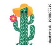 funny cactus in a hat and... | Shutterstock .eps vector #1048877210