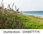 a beach with green grass and ... | Shutterstock . vector #1048877774