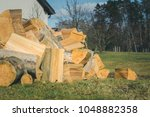 Pile Of Logs Laying On The...
