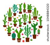 different types of cactus... | Shutterstock .eps vector #1048884320