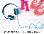 fitness concept with pink... | Shutterstock . vector #1048891538