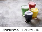 colorful super lattes with... | Shutterstock . vector #1048891646