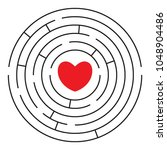 round labyrinth  maze  with red ... | Shutterstock .eps vector #1048904486