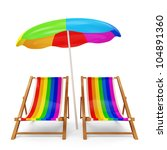 Deck Chairs with Sunshade on white background - stock photo