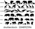 Stock vector vector silhouettes of elephants rhinos hippos lions giraffes and crocodiles isolated on white 104892596
