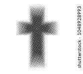 black halftone cross on the... | Shutterstock .eps vector #1048928993
