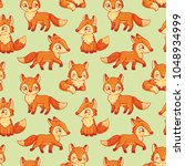 seamless pattern with foxes in... | Shutterstock .eps vector #1048934999