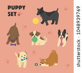 playing puppy character set... | Shutterstock .eps vector #1048939769