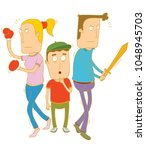 parents protecting their... | Shutterstock .eps vector #1048945703