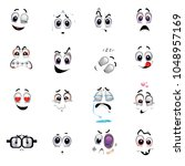 set of various face emoji icons.... | Shutterstock .eps vector #1048957169