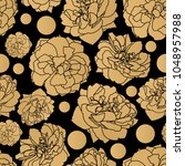 gold rose seamless pattern... | Shutterstock .eps vector #1048957988