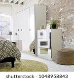 modern style wardrobe interior... | Shutterstock . vector #1048958843