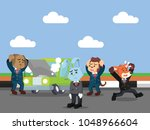 business animal is panic... | Shutterstock .eps vector #1048966604
