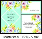 invitation with floral... | Shutterstock .eps vector #1048977500